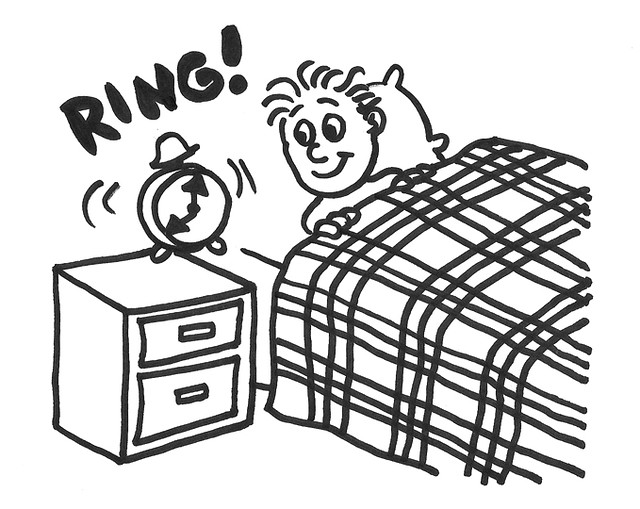A boy waking up clipart black and white clip art transparent stock Boy waking to an alarm clock | Cartoon of a boy waking up to… | Flickr clip art transparent stock