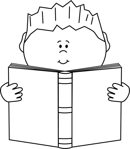 A clip art image. Free clipart black and white little girl reading book