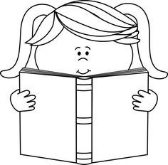 Kids download best . Free clipart black and white little girl reading book