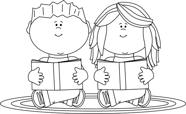 Black and white clipart images of kids reading