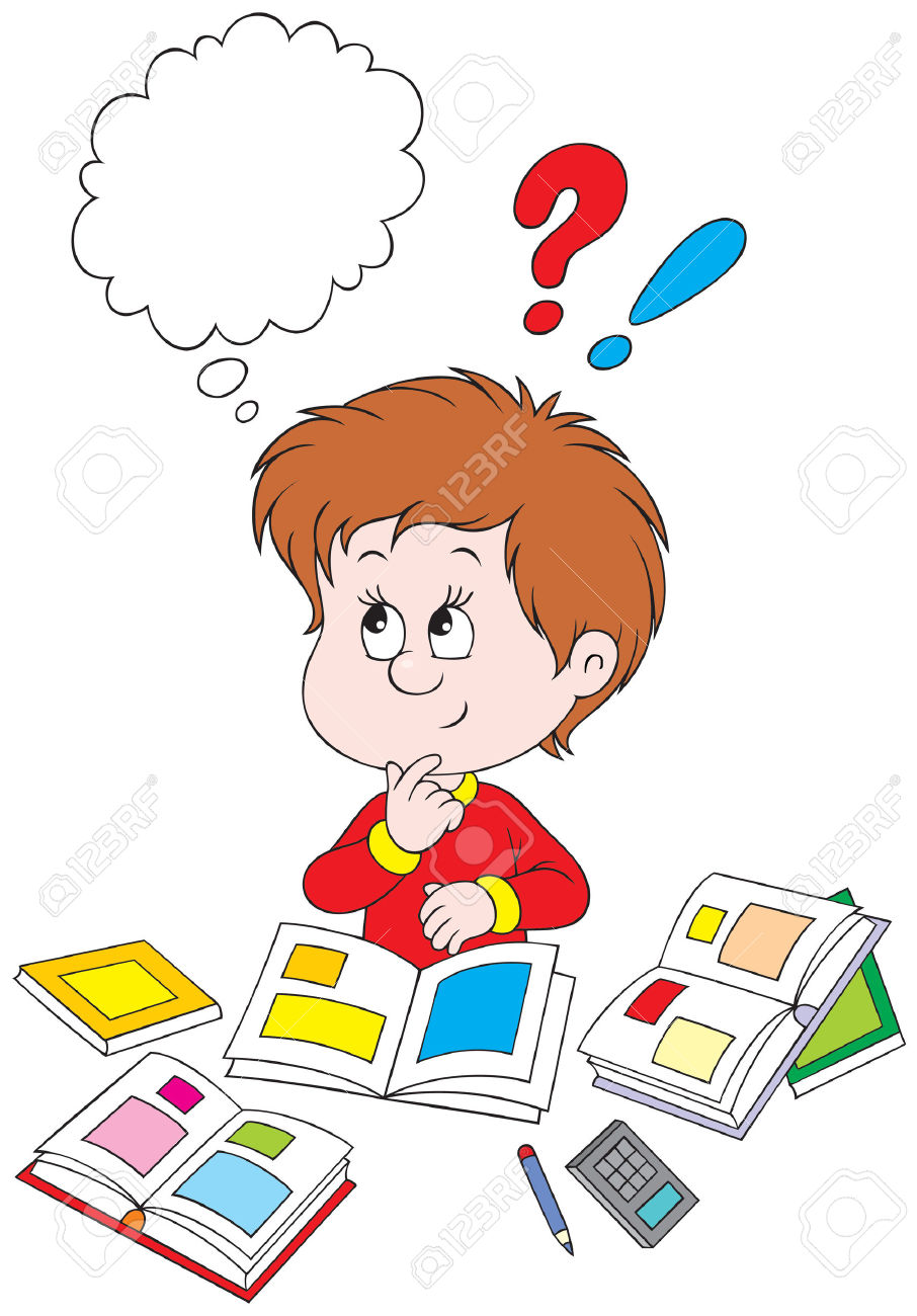 A child thinking clipart