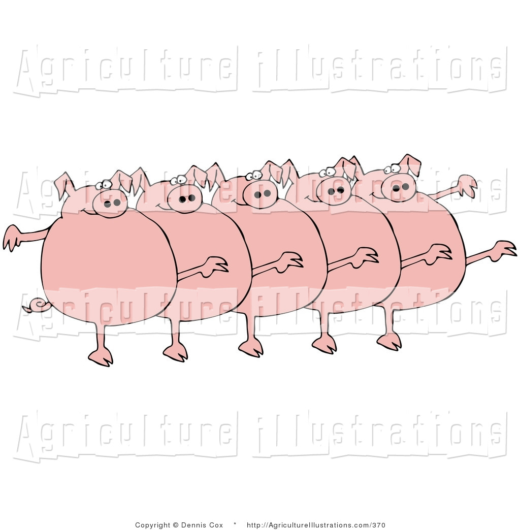 A chorus line clipart picture freeuse library Agriculture Clipart of Five Fat Pink Pigs Kicking Their Legs up ... picture freeuse library