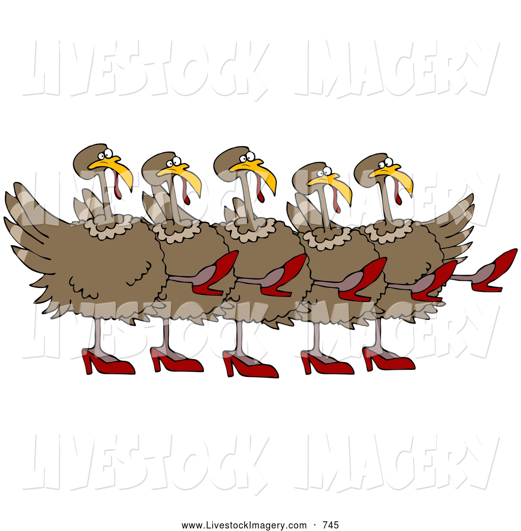A chorus line clipart black and white download Clip Art of a Row of Five Brown Turkey Birds in High Heels, Kicking ... black and white download