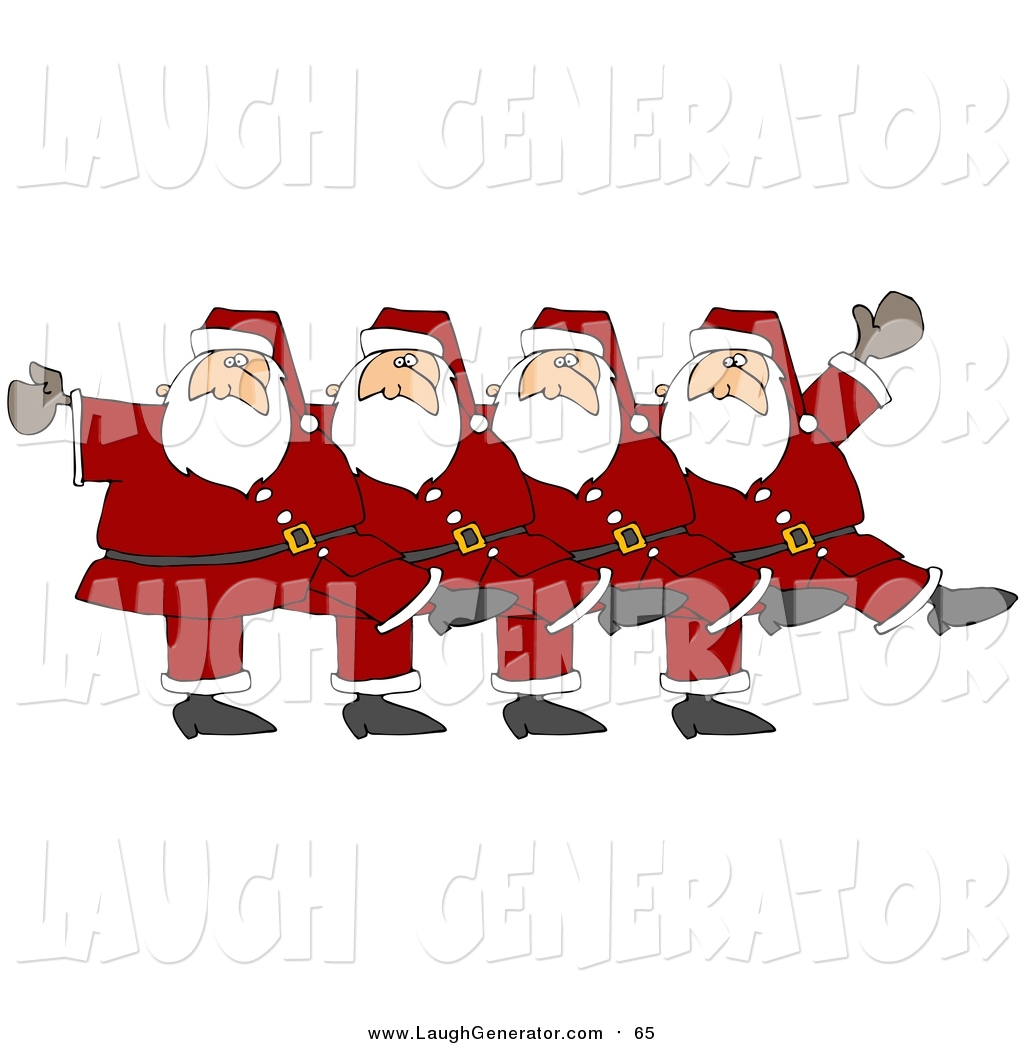 A chorus line clipart png royalty free download Humorous Clip Art of Five Santas Kicking Their Legs up While Dancing ... png royalty free download