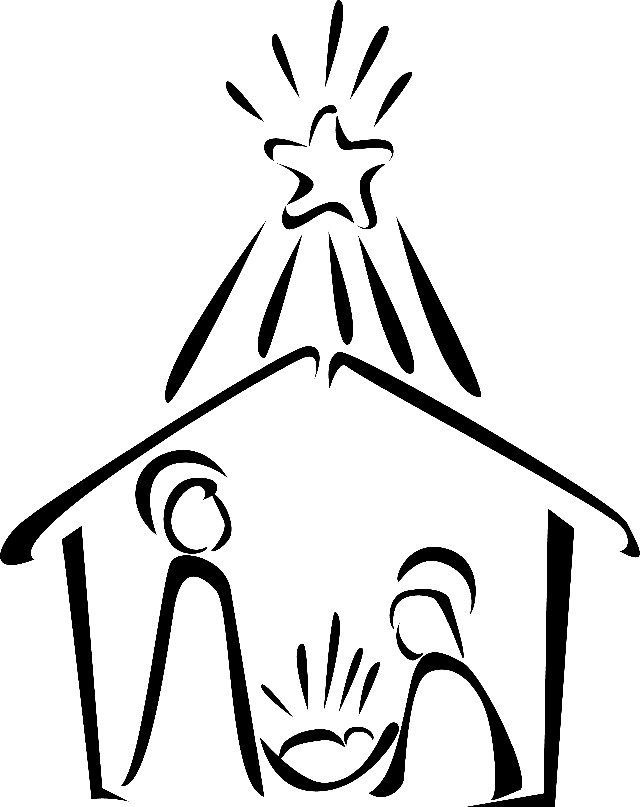 A christmas story clipart pole black and white image free stock Nativity Scene Clipart Black White | Free download best Nativity ... image free stock