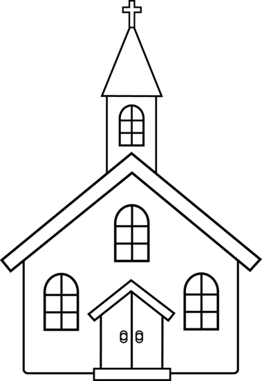 Children at church clipart black and white clip download Little Church Line Art - Free Clip Art | Bible Class | Coloring ... clip download