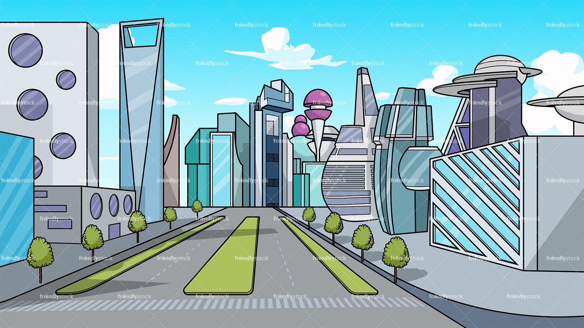 A city street with buildings background cartoon clipart png royalty free stock Futuristic City Background | Urban Street Design in 2019 ... png royalty free stock