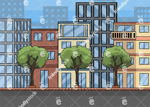 A city street with buildings background cartoon clipart graphic transparent download Empty Street And City Buildings Vector Background | Downtown | City ... graphic transparent download
