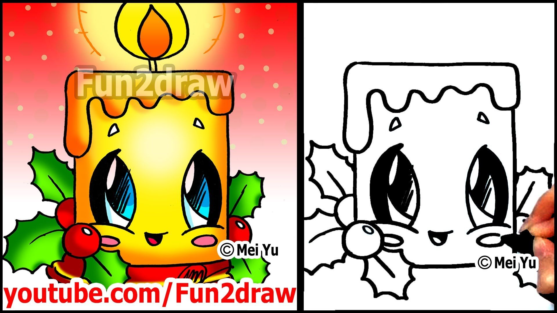 How to Draw Christmas Pictures - Candle + Holly Decoration ... jpg black and white