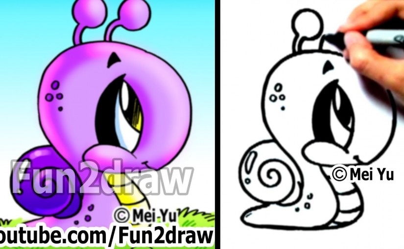 How to Draw Easy Stuff – How to Draw a Snail – Drawing Step by Step ... vector transparent stock