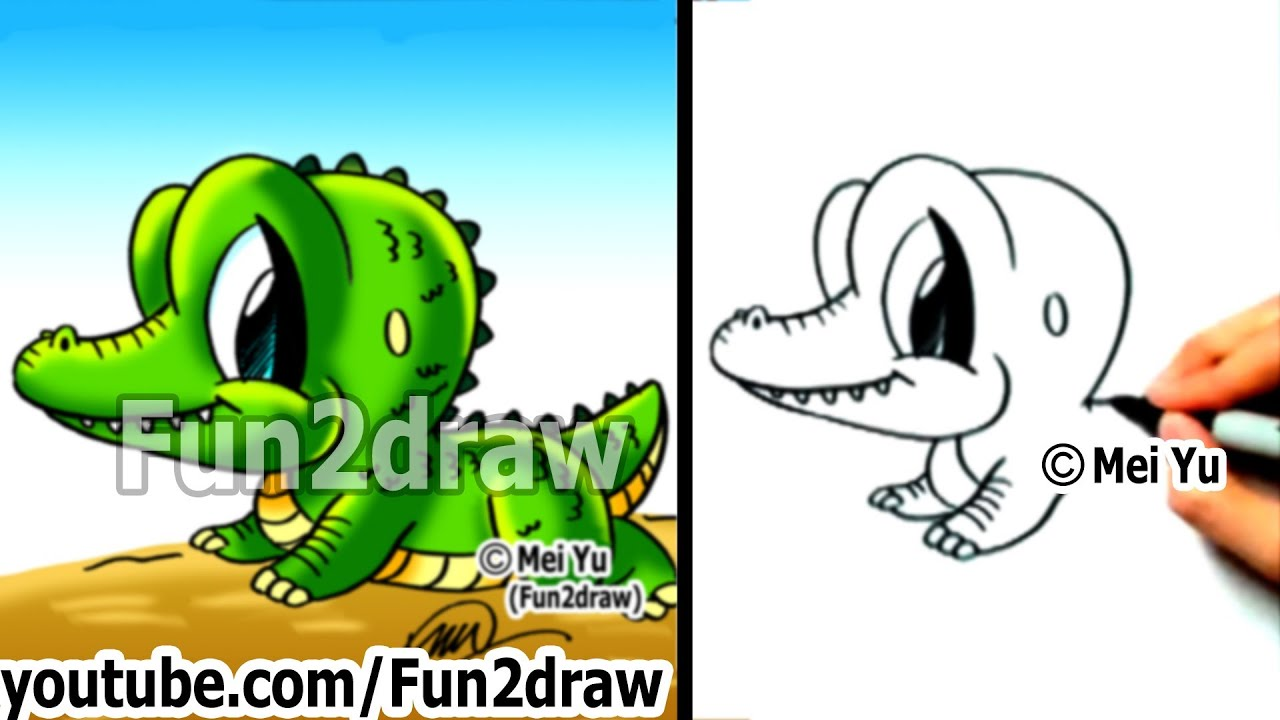 How to Draw Cartoon Characters Easy - How to Draw a Alligator - Draw  Animals - Fun2draw picture free download