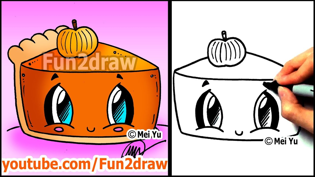 How to Draw Thanksgiving Things - Cute Pumpkin Pie - Fun2draw Food picture freeuse stock