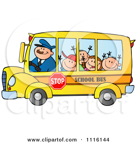 A clipart of a brown man waving from a schoolbus png free library Royalty-Free (RF) Clipart of School Bus, Illustrations, Vector ... png free library