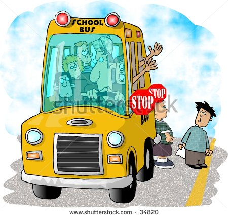 A clipart of a brown man waving from a schoolbus clip free Clipart of a girl waving to her father by getting on a school bus ... clip free