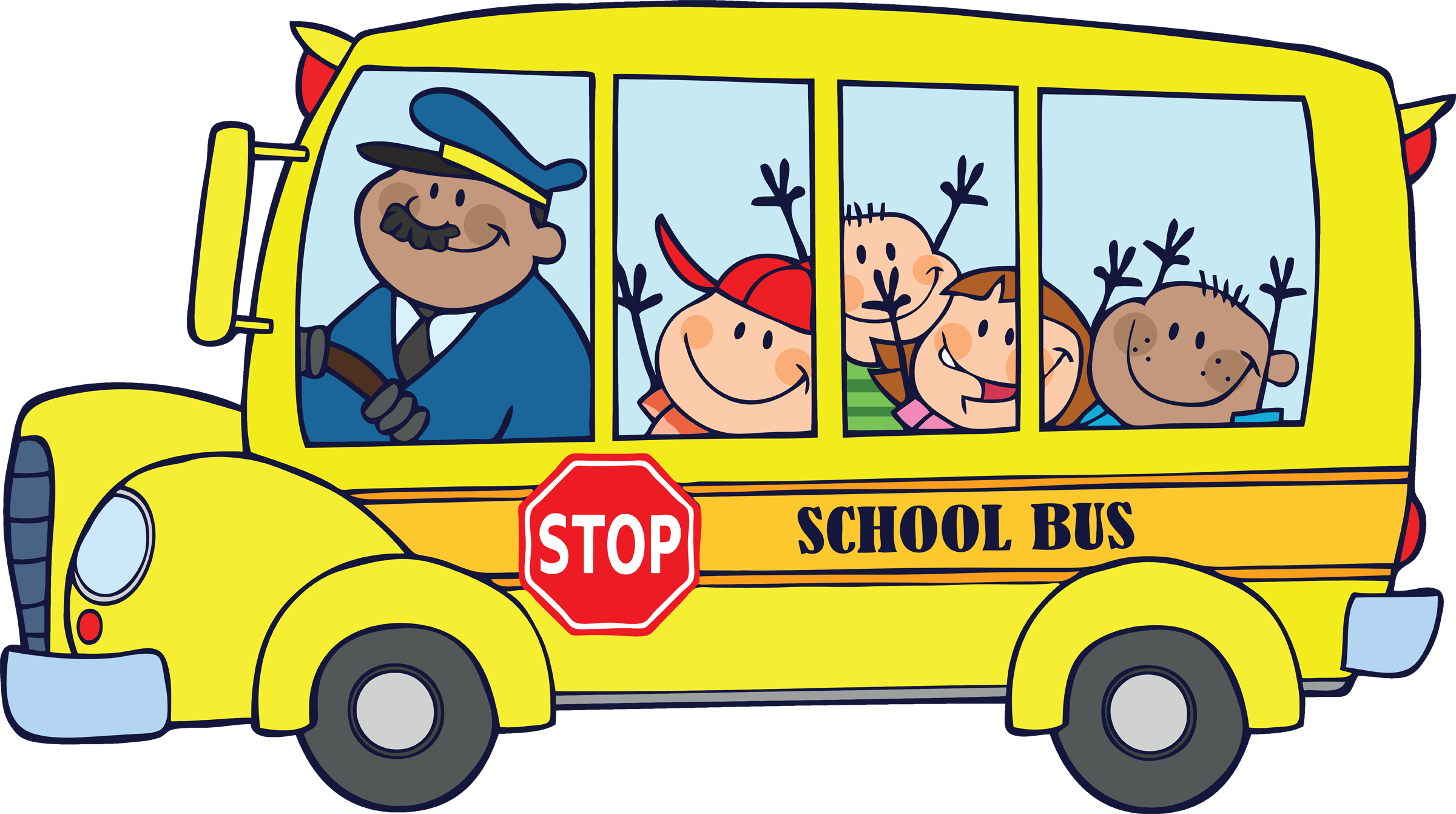 A clipart of a brown man waving from a schoolbus royalty free Schoolbus clip art - ClipartFest royalty free