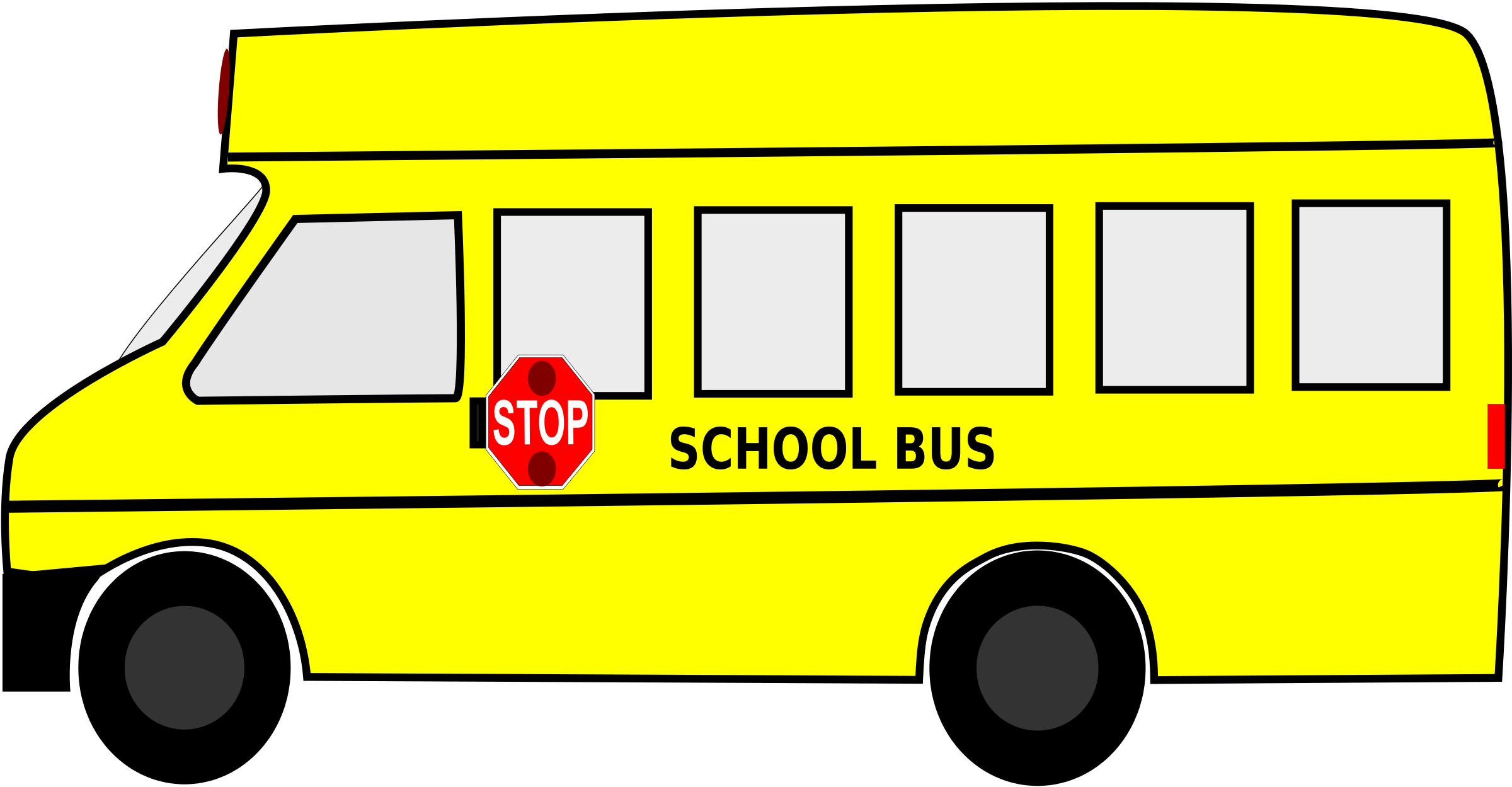 School transportation clipart clipart black and white library A clipart of a brown man waving from a school bus to his daughter ... clipart black and white library
