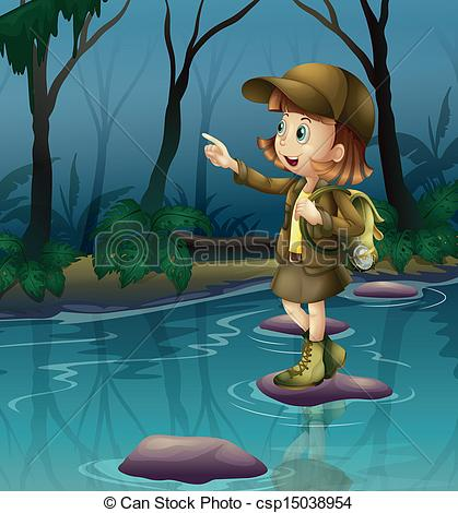 A clipart of a girl being adventurous - ClipartFest svg library stock