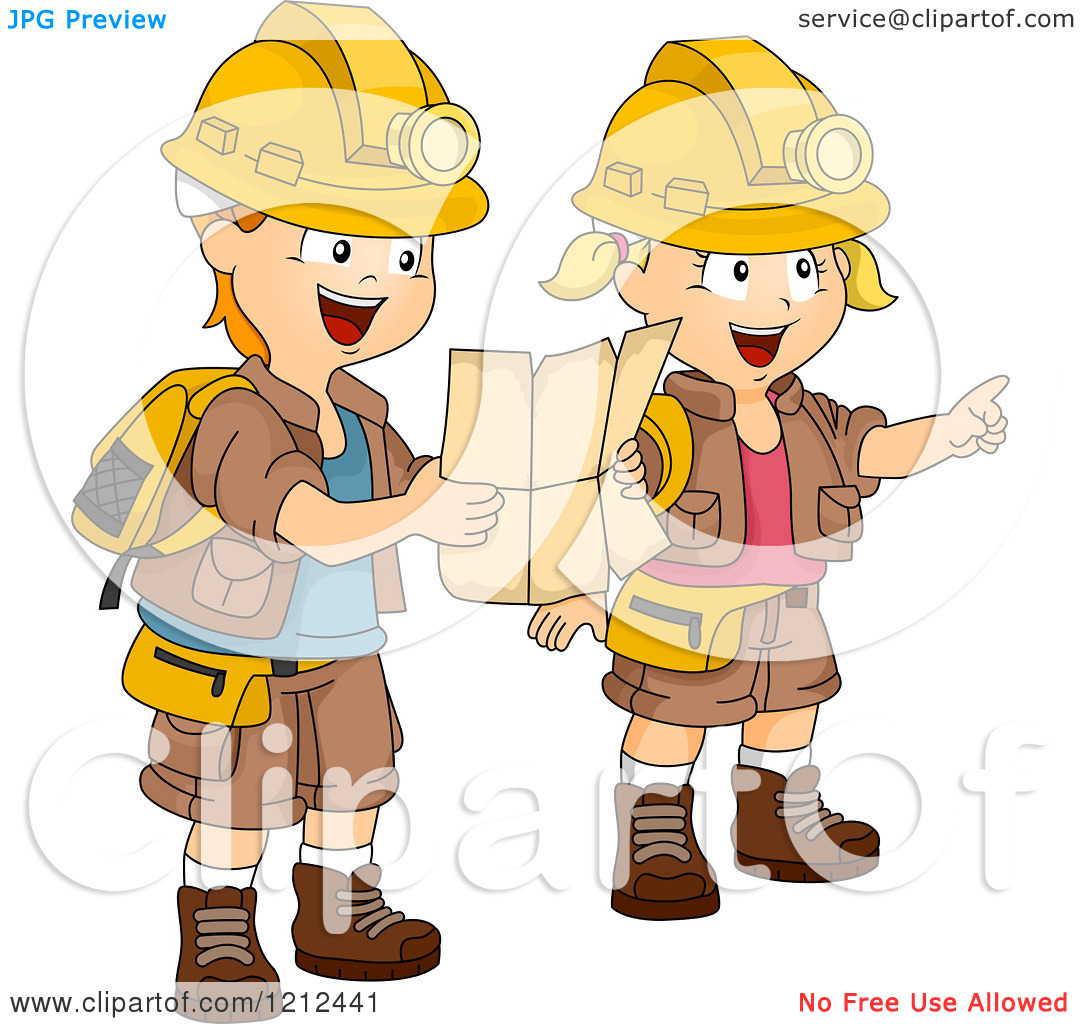 Adventure Map Clipart Cartoon Of A Boy And Girl In Following ... freeuse