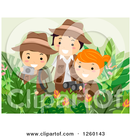 Clipart of a Girl and Boys Taking Pictures and Using Binoculars on ... banner black and white