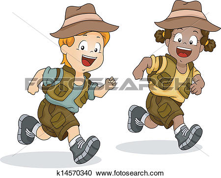 Clipart of Boy and Girl Kids Running for Safari Adventure ... vector library download