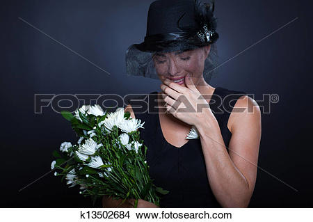 A clipart of a girl in a funeral clip art download Stock Photo of sad widow crying at funeral k13502684 - Search ... clip art download