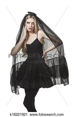 A clipart of a girl in a funeral clip art library Stock Photography of Halloween girl with funeral style k16221921 ... clip art library
