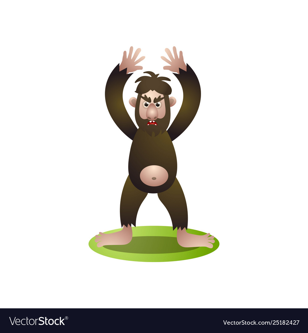 Furry brown bigfoot with hands up stay to protect clip art