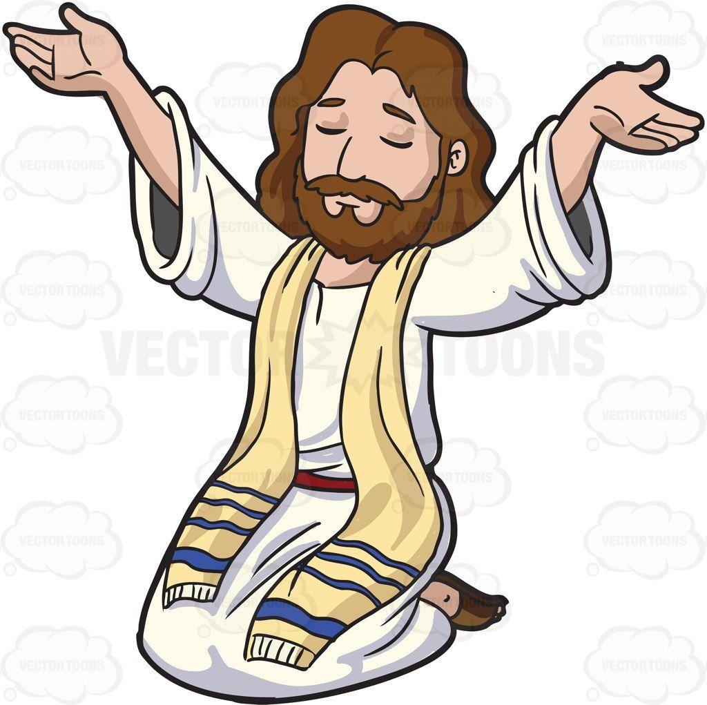 Jesus Christ Raising His Hands To Praise: Cartoon image of Jesus ... black and white