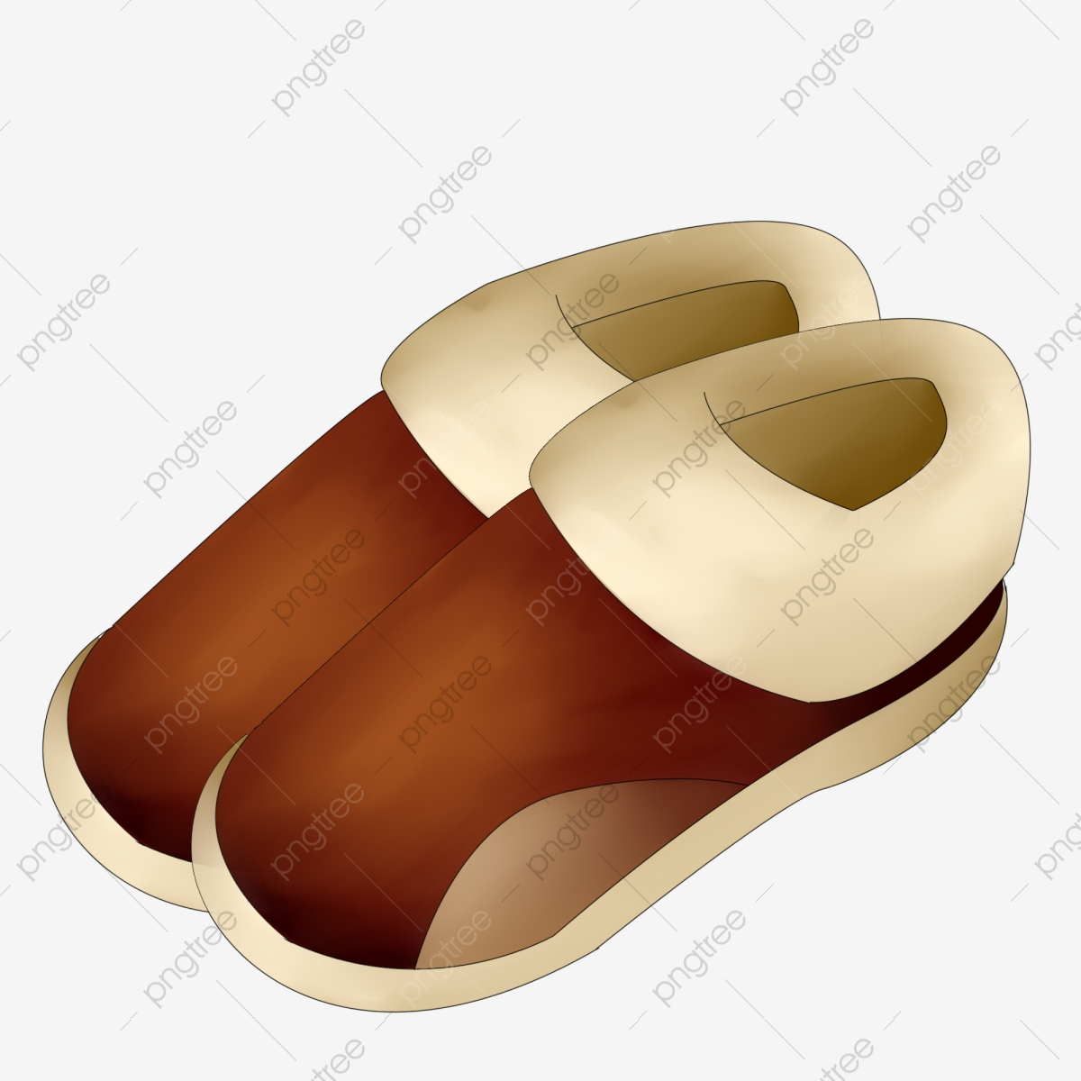 Brown Shoes White Fluff Hand Drawn Shoes Illustration Cartoon ... clipart library download