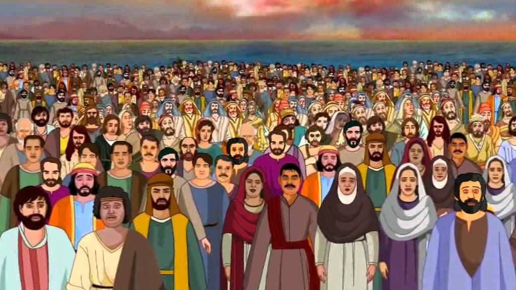 A croud of people whatch jesus clipart jpg freeuse stock Bible stories for kids - Feeding 5000 ( Jesus Cartoon Animation in English ) jpg freeuse stock