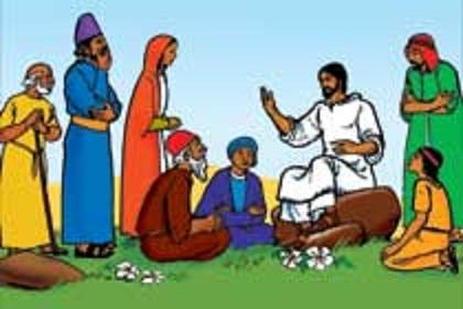 A croud of people whatch jesus clipart clip freeuse stock Bijbelverhalen in beeld - 01 - Who is Jesus clip freeuse stock