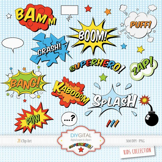 Superhero Comic Elements-Comic Book-Sound Effects-Action Words ... jpg transparent