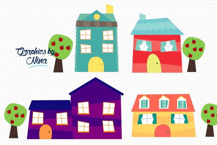 A cute house clipart jpg free stock Cute little houses clipart jpg free stock
