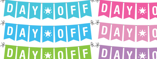 """A day off clipart banner black and white Day Off"""" Banner Planner Clipart Pack banner black and white"""