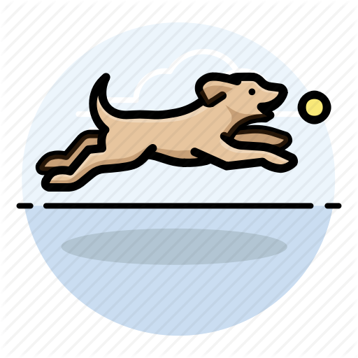 A dog fetching clipart clip transparent stock \'Dog Activities - Round\' by iconify clip transparent stock