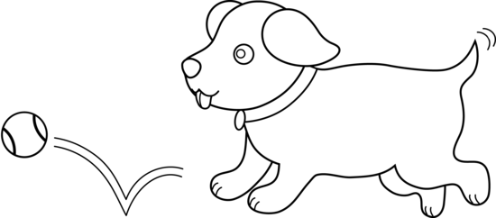 A dog fetching clipart picture free Line Art Of Puppy Playing Fetch - Free Clip Art picture free