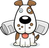 A dog fetching clipart image library library Dog Fetching Newspaper Clip Art - Royalty Free - GoGraph image library library