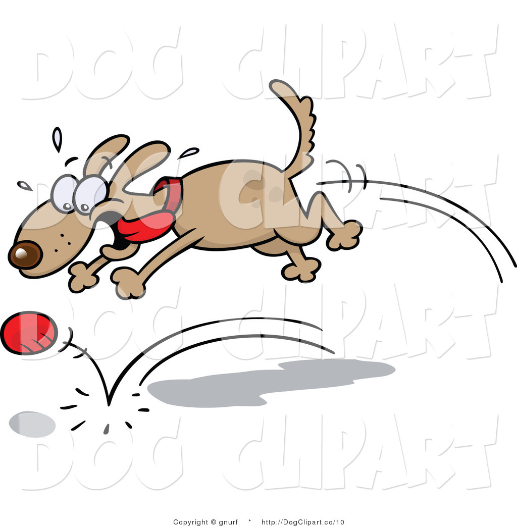 A dog fetching clipart image Clip Art of a Dog Chasing a Red Ball and Playing Fetch by gnurf - #10 image