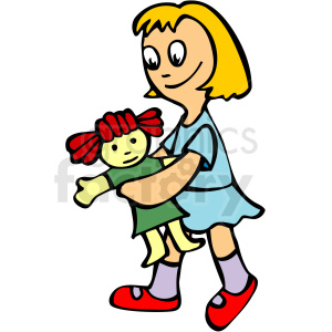 A doll clipart clipart stock Blonde haired girl holding a rag doll clipart. Royalty-free clipart # 159007 clipart stock