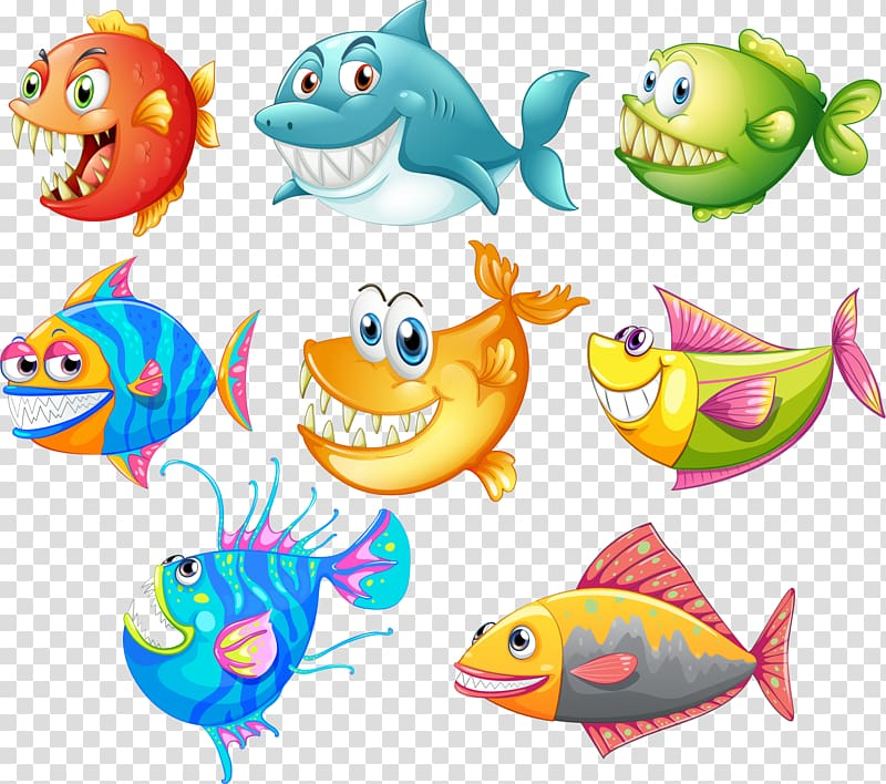 A drawing of a fish in a roll clipart clip black and white library Eight assorted-color fishes illustration, Shark Drawing Cartoon Fish ... clip black and white library