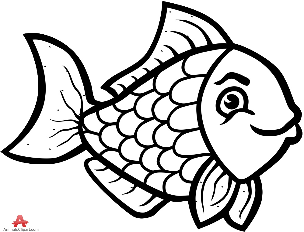 Black & white fishing clipart