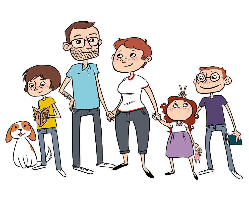 A family cartoon clipart graphic free Free Cartoon Family Of 6, Download Free Clip Art, Free Clip Art on ... graphic free