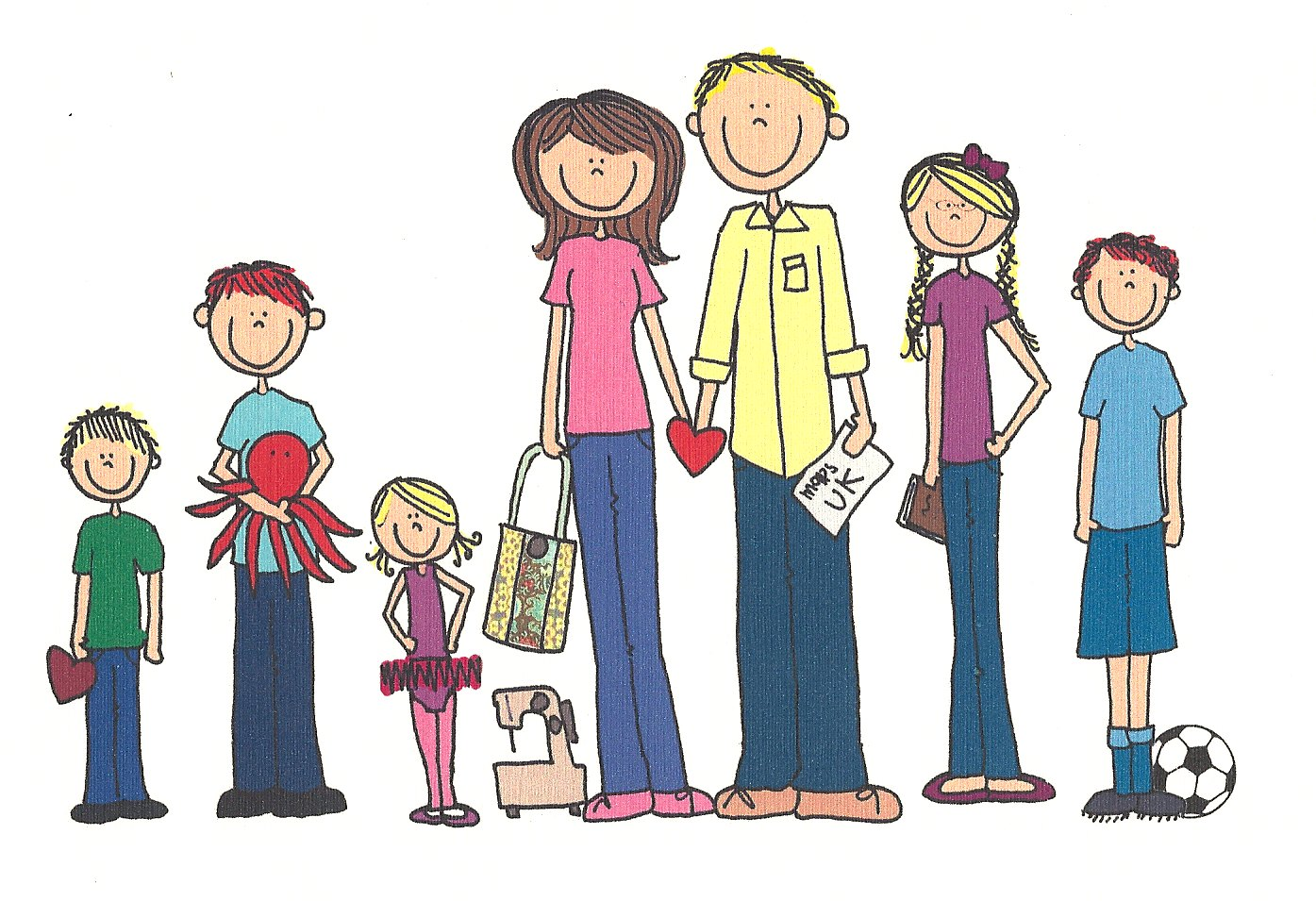A family cartoon clipart banner black and white library Free Cartoon Family Of 5, Download Free Clip Art, Free Clip Art on ... banner black and white library