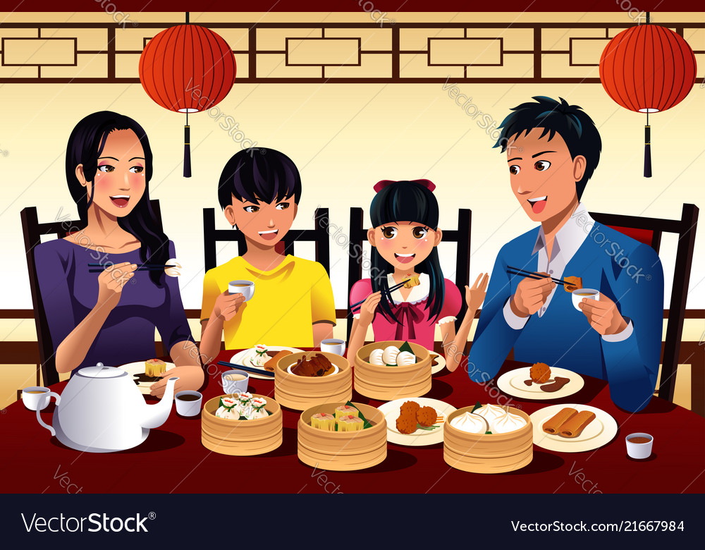 A family eating food clipart graphic black and white stock Chinese family eating dim sum graphic black and white stock