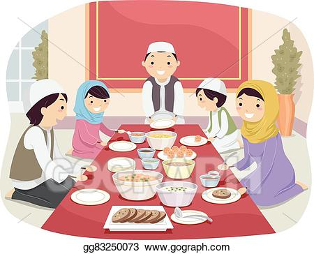 A family eating food clipart png stock Vector Clipart - Stickman family muslim eating. Vector Illustration ... png stock