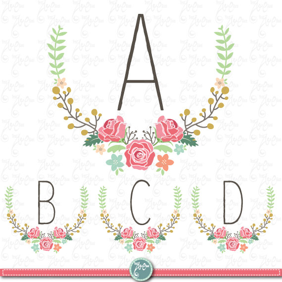 A floral monogram clipart clipart black and white stock Wedding Clipart pack \