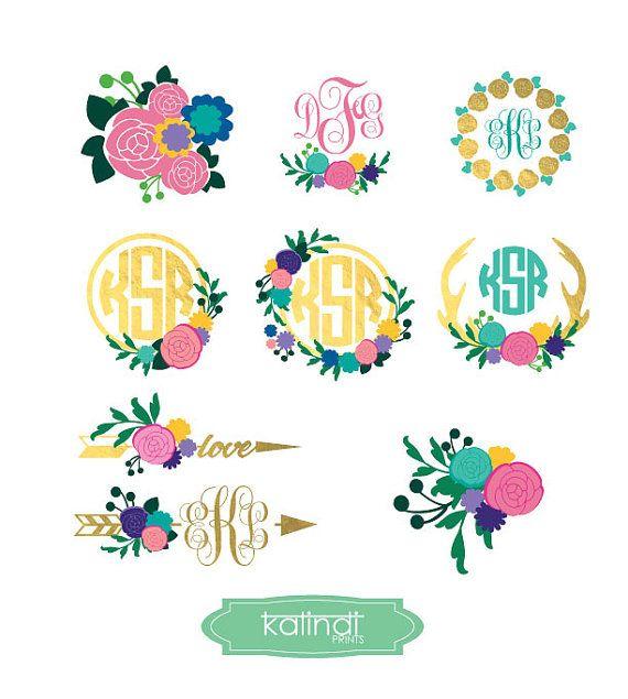 A floral monogram clipart clip transparent library flower monogram svg, flower svg, monogram svg, svg, flower monogram ... clip transparent library