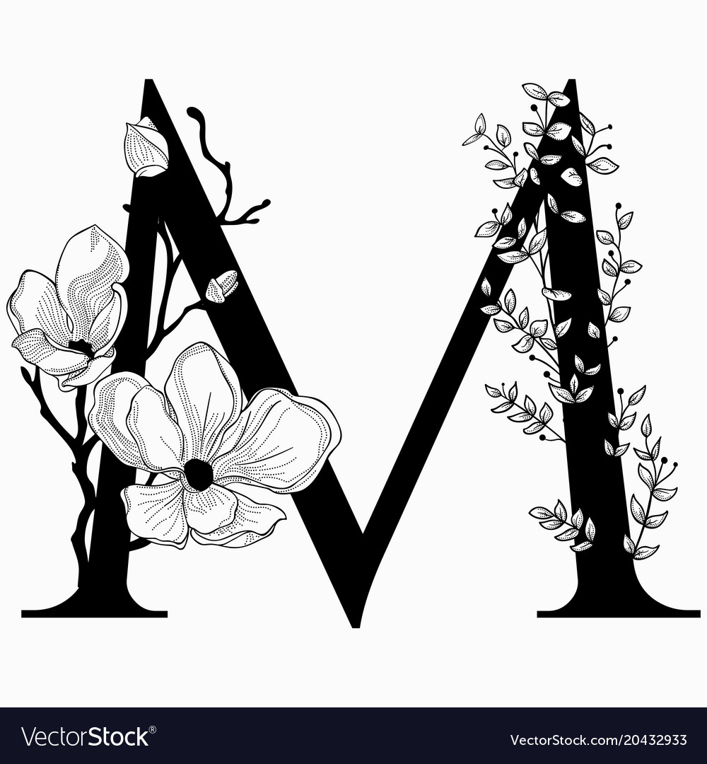 A floral monogram clipart picture transparent stock Hand drawn floral m monogram and logo picture transparent stock