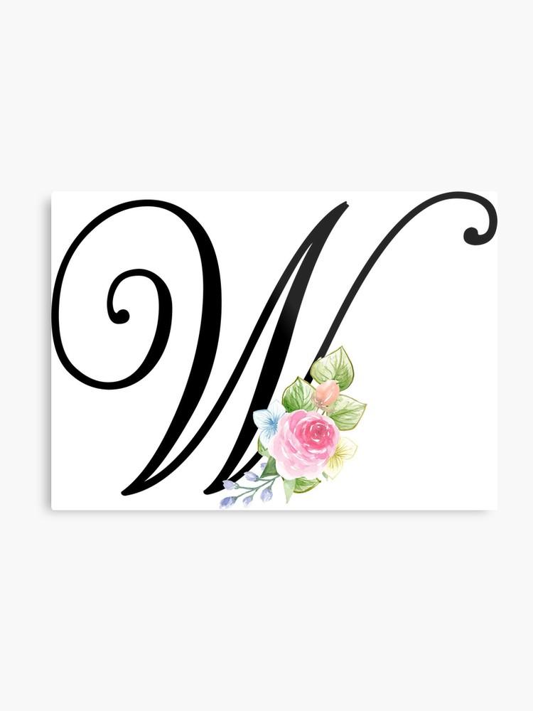 A floral monogram clipart svg royalty free library Floral Monogram Fancy Script Letter W | Metal Print svg royalty free library