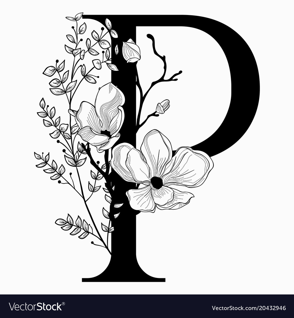 A floral monogram clipart clip art free download Hand drawn floral uppercase p monogram and clip art free download